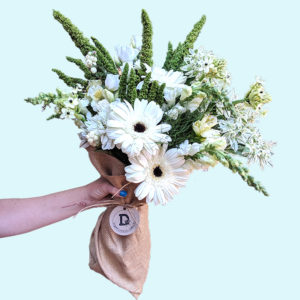 bouquet of twenty stems of white and green flowers