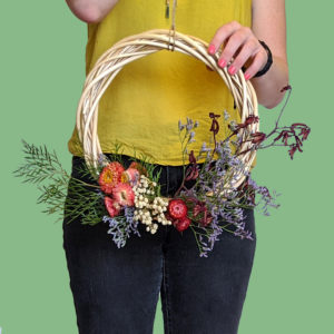 Floral Christmas wreath with dried flowers