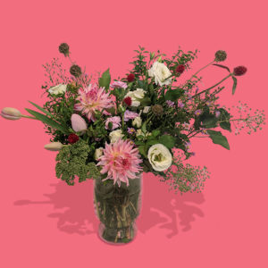 eclectic floral arrangement with meadow vibes