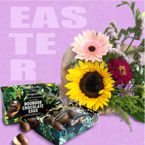 chocolate eggs and flower bouquet combo